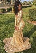 Sexy royal azul sereia vestidos de baile 2020 boné manga ouro lantejoulas em camadas babados africano preto menina longo vestido de festa