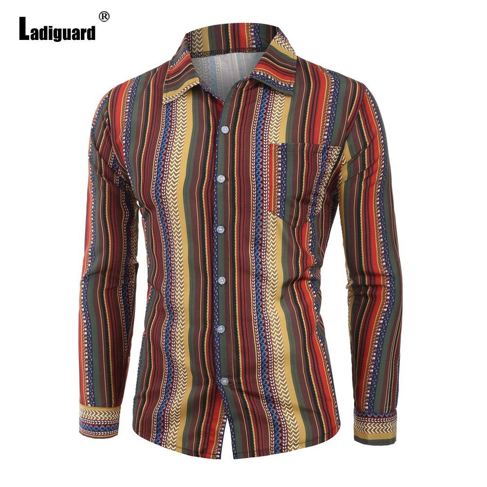 Мужская новейшая Повседневная рубашка, блузы, пикантная Мужская одежда, 2021 однобортный Топ, уличная одежда, модная мужская блузка в полоску,...