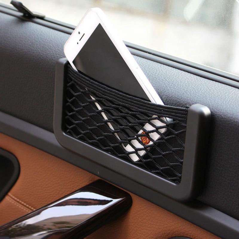 Para BMW E46 E39 E60 E36 E90 F30 F10 X5 E53 E70 E30 E34 asiento de coche bolsa de malla de almacenamiento de red soporte de teléfono Organizador de bolsillo