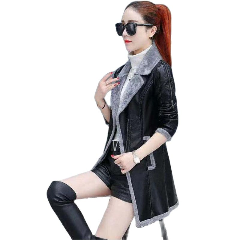 4XL سترة جلدية النساء جلد الغزال معطف الإناث 2020 الشتاء طويلة الأكمام فو معطف جلد دراجة نارية الفراء سترة السيدات بولي Size حجم كبير