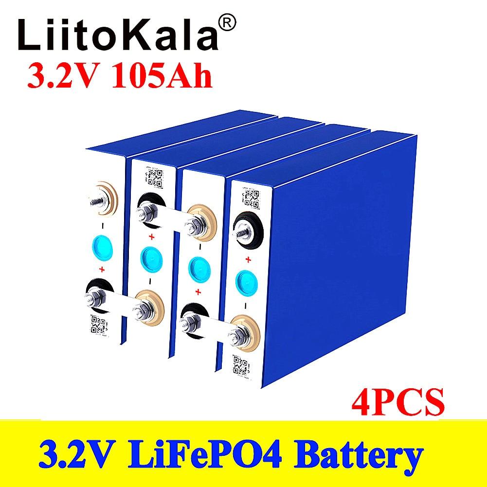 LiitoKala 3.2 فولت 100 أمبير/ساعة 105Ah LifePo4 بطارية ليثيوم 300A 3C استنزاف عالية لتقوم بها بنفسك 12 فولت 24 فولت الشمسية العاكس مركبة كهربية سيارة الغولف
