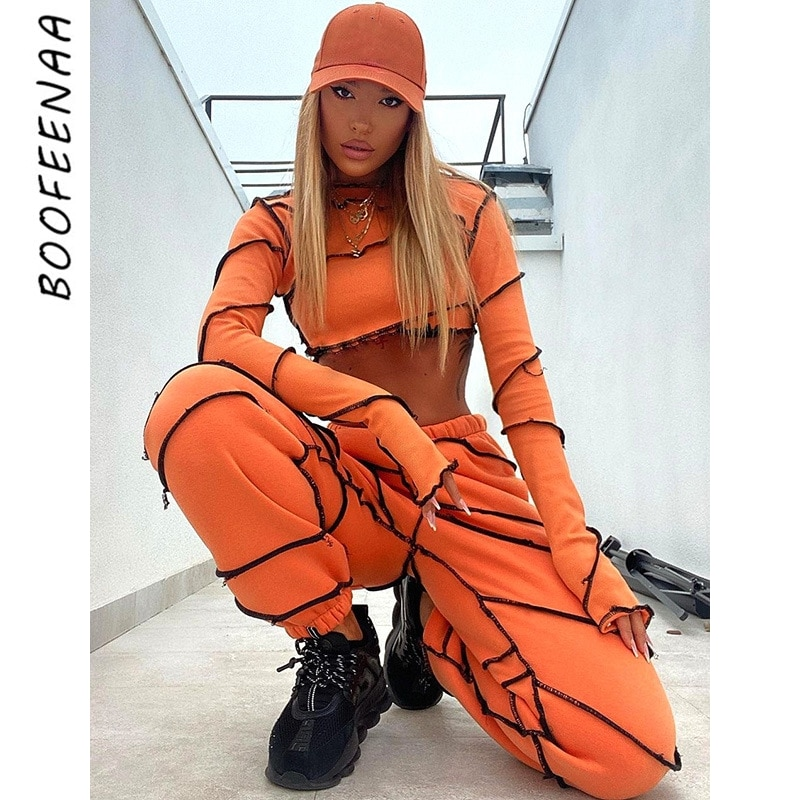 BOOFEENAA Kontrast Stich Zwei Stück Set Langarm Crop Top und Hosen Streetwear Jogger Sweat Anzüge Weiß Orange C76-FD64