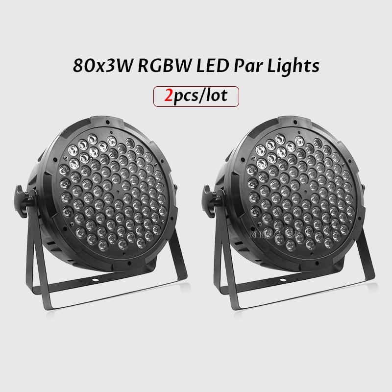 2 قطعة/السلع 80x3 واط RGB 3in1 الاسمية أضواء RGBW Led الاسمية أضواء شقة الاسمية Led مع DMX512 للحزب الزفاف ديسكو المرحلة DJ المعدات