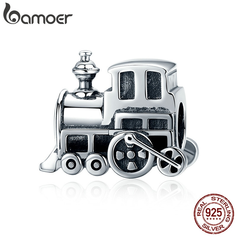"""BAMOER 100% реальные 925 пробы серебро Винтаж локомотив поезд автомобиля, очаровательный, подрходит к Для женщин браслет """"сделай сам"""" для изготовления ювелирных изделий, SCC507"""