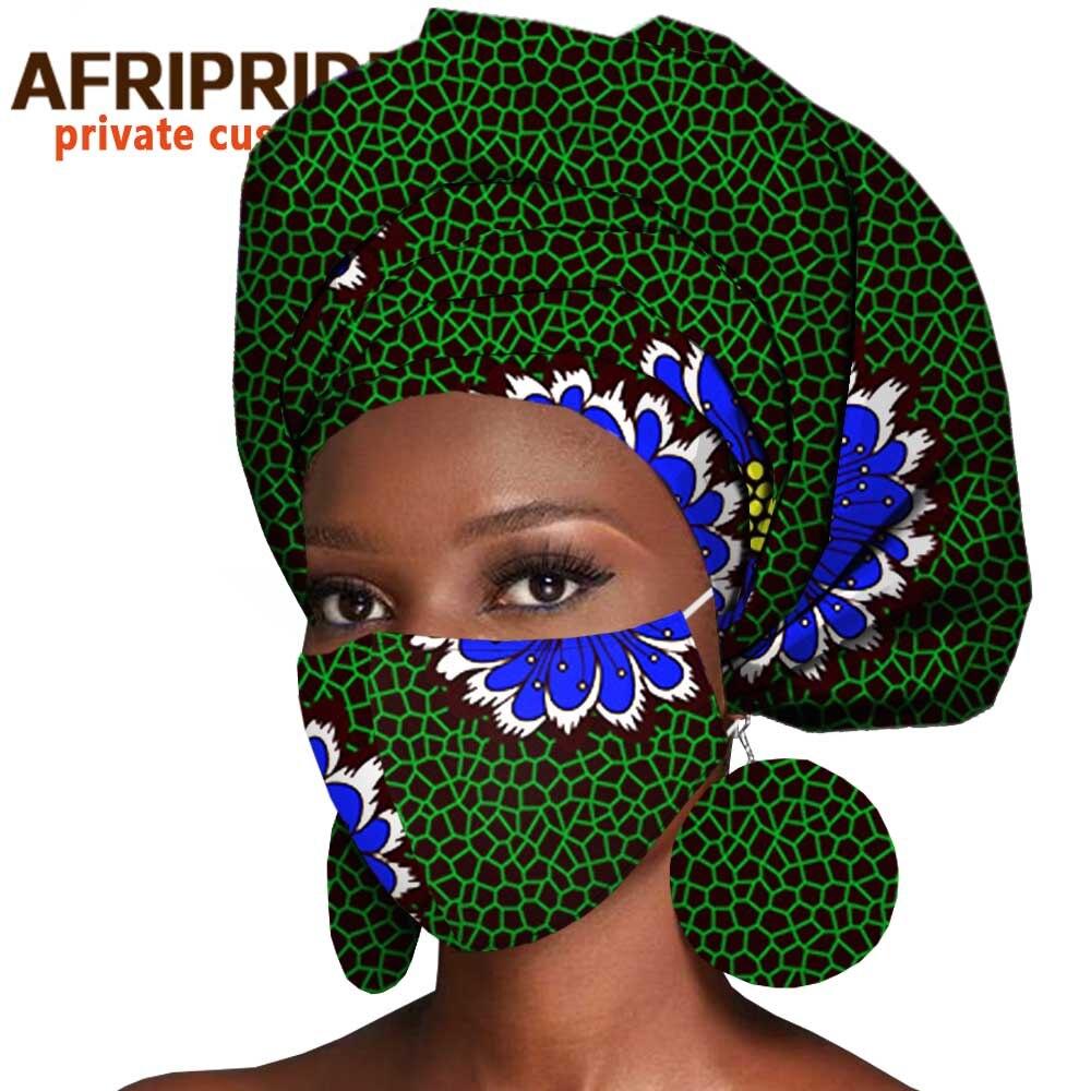 باندانا أنقرة الأفريقية ، لف الرأس ، الأقراط المتطابقة ، قناع القطن الشمع المصنوع يدويًا A2028008