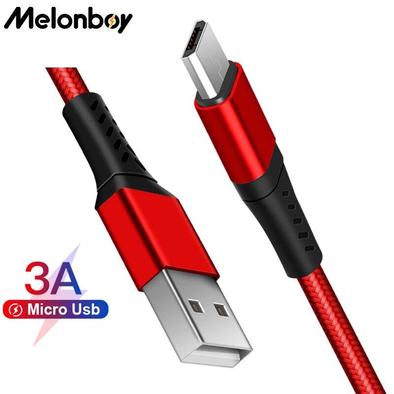 Melonboy 3A de Nylon trenzado de Cable Micro Usb de carga rápida...