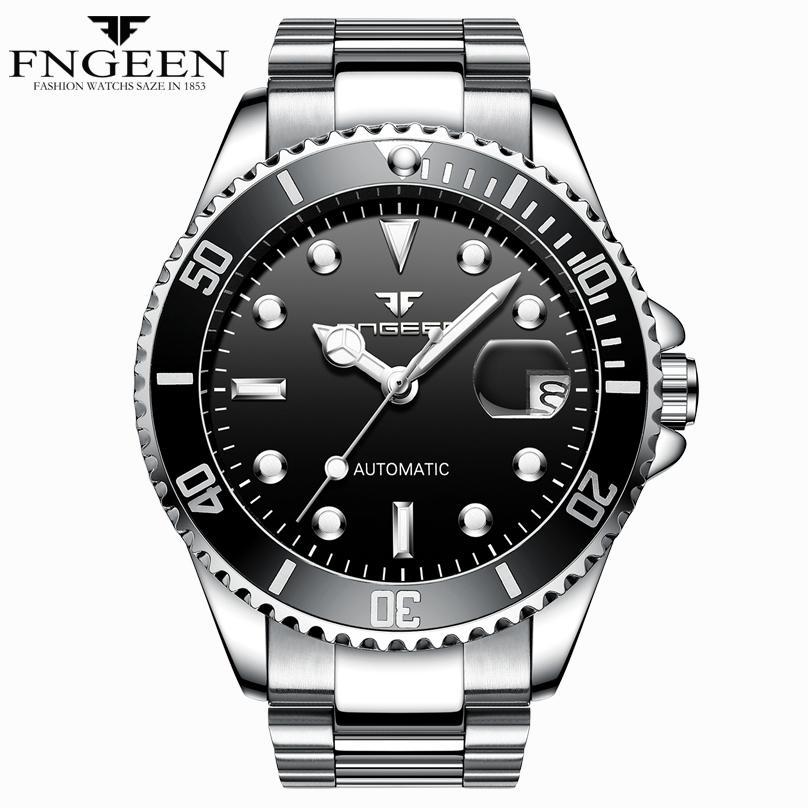 FNGEEN الشهيرة الفاخرة الرياضة العلامة التجارية التلقائي الميكانيكية رجل ساعة أخضر أسود أزرق المياه شبح الصلب حزام نايلون ساعة معصم الذكور