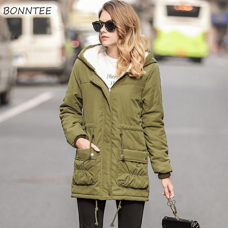 Parkas mujeres grueso invierno cordón delgado con capucha Lambswool abrigo moda estilo europeo mujeres caliente bolsillos Abrigos Mujer ocio