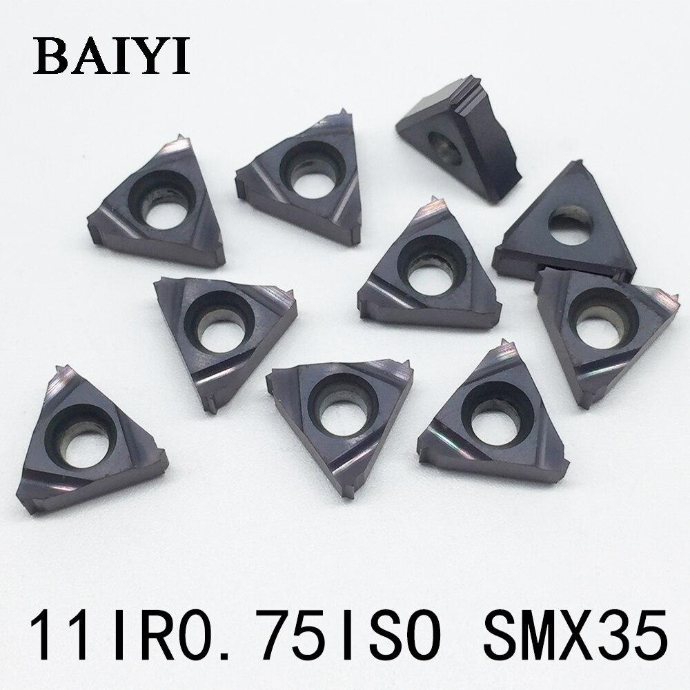 10pcs 11IR 0.75ISO SMX35 Thread ferramentas de torneamento Pastilhas de metal duro para corte de carboneto de inserção de usinagem CNC chato bar