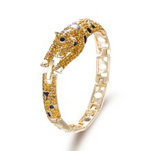 Tuliper Leopard Panther Animal Bracelet Bangle Austrian Crystal Rhinestone Enamel Bracelet For Women Party Jewelry Gift