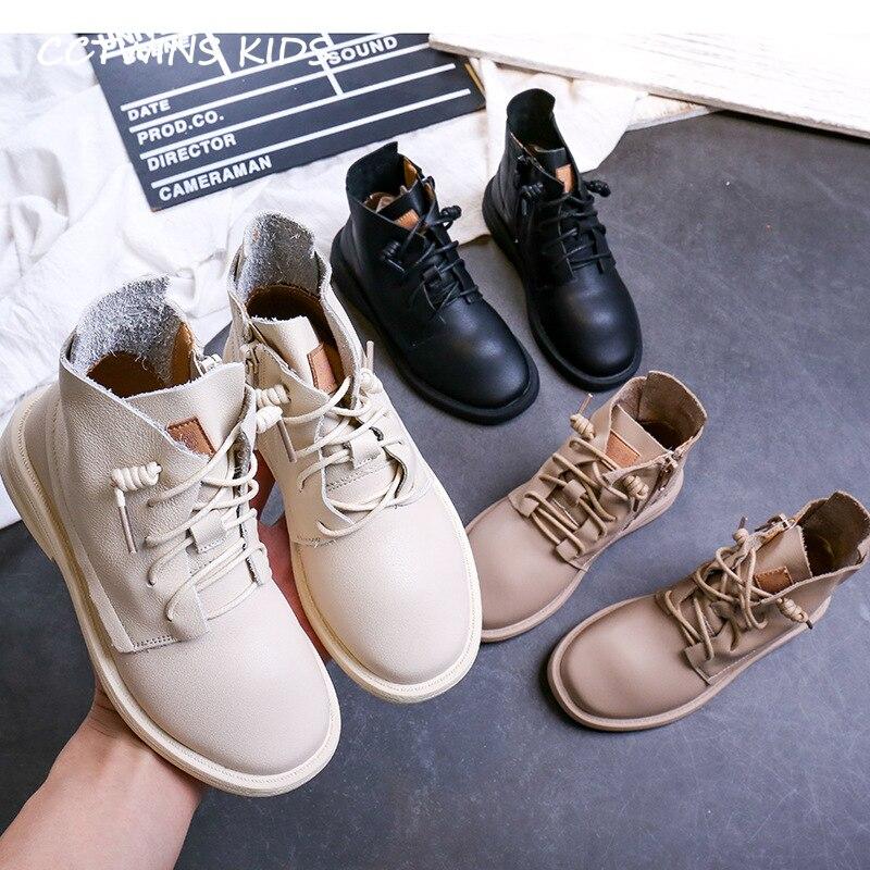 CCTWINS Kinder Schuhe 2019 Herbst Mädchen Weiß Mode Kleid Martin Stiefel Jungen Echt Leder Schuh Kinder Schwarz Casual Booties MB009