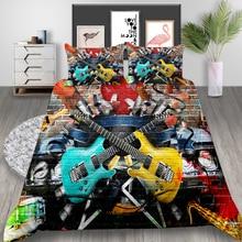 Ensemble de literie avec graffitis   Housse de couette roi pour guitare, à la mode artistique, ensemble pour lit Double, Style Street