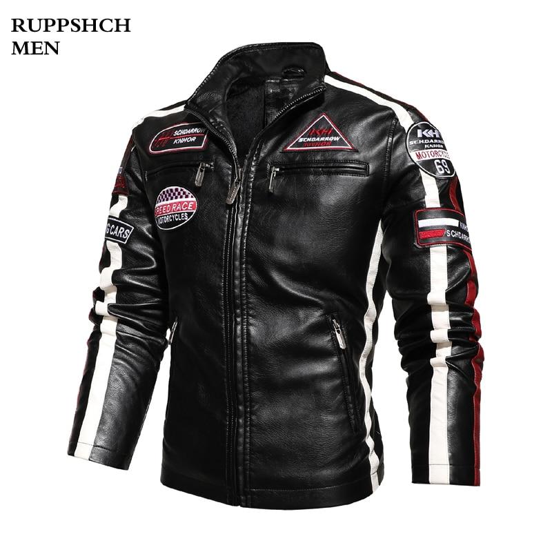 Men 2021 Autumn Winter Business Casual Motorcycle Biker Leather Jacket Men Warm Fleece Camouflage PU Faux Leather Jackets Coat