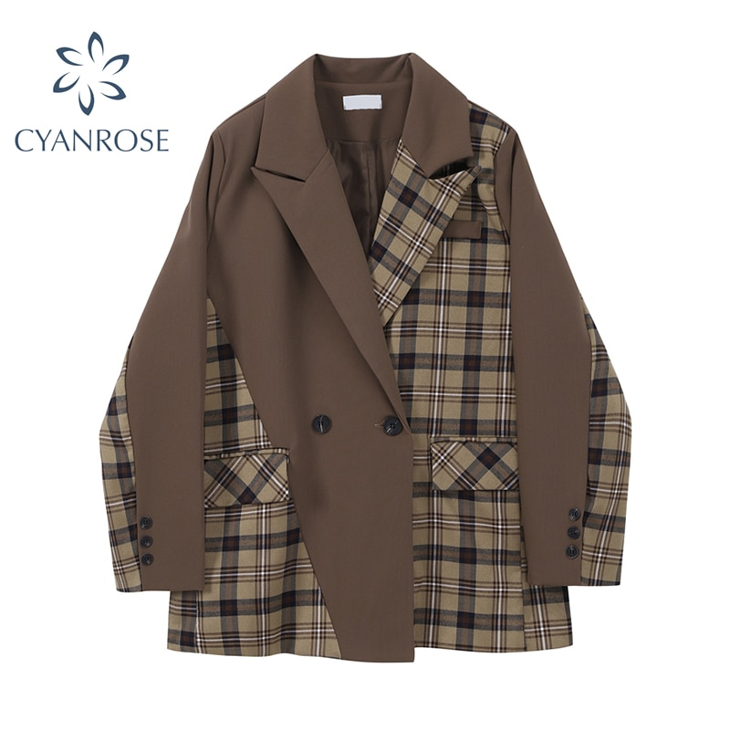 Plaid Irregular Patchwork Blazer Women Autumn 2021 New Korean Loose Notched Lapel Double-Breasted Lo