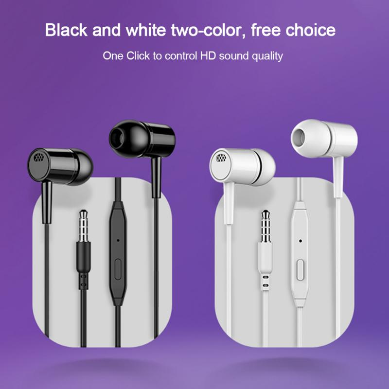 Portable Audio In-Ear Headphones Heavy Bass Noise Cancelling Earphones Wired Earphones With Microphone For Hands-free Calling
