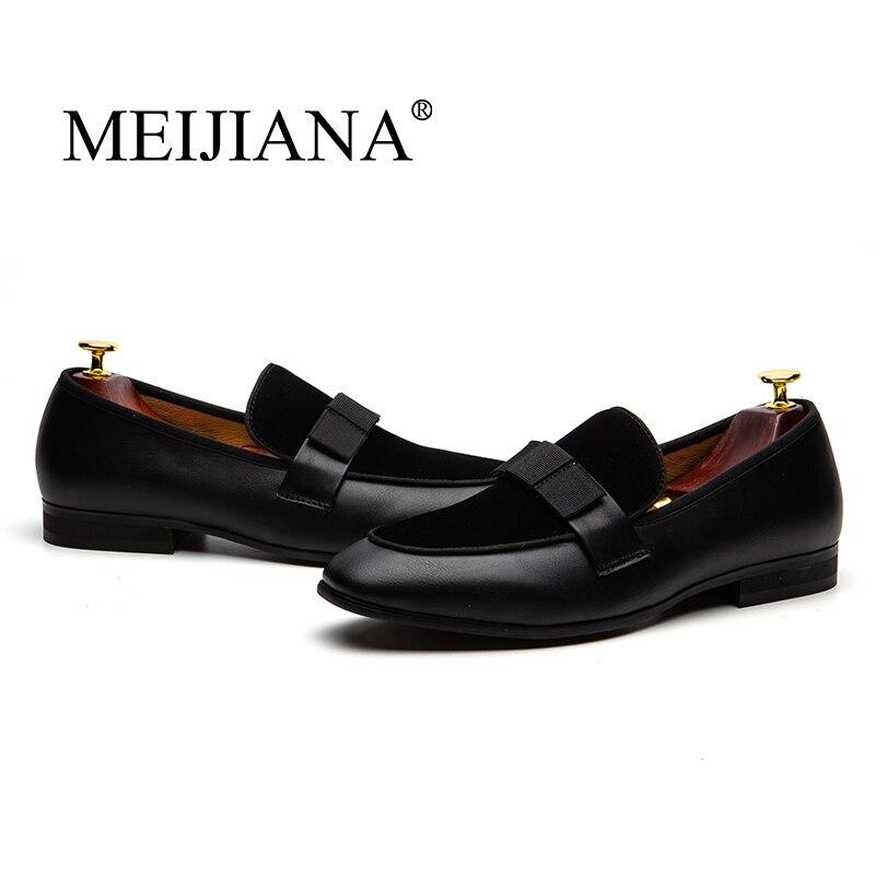 MEIJIANA-حذاء موكاسين من الجلد اللامع للرجال ، أحذية سهرة ، زفاف ، ملهى ليلي