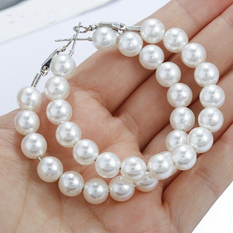 1 par de pendientes de aro de perlas blancas puras, pendientes de perlas, pendientes de aro circulares para mujeres, niñas, accesorios de joyería de moda para mujeres