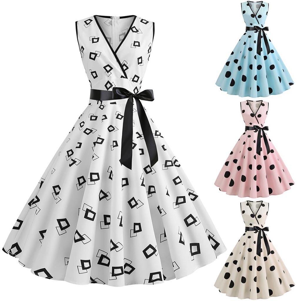 Women's dress Fashion Summer Women Casual 1950s Retro Sleeveless V-Neck Dot Printing Party Prom Swin
