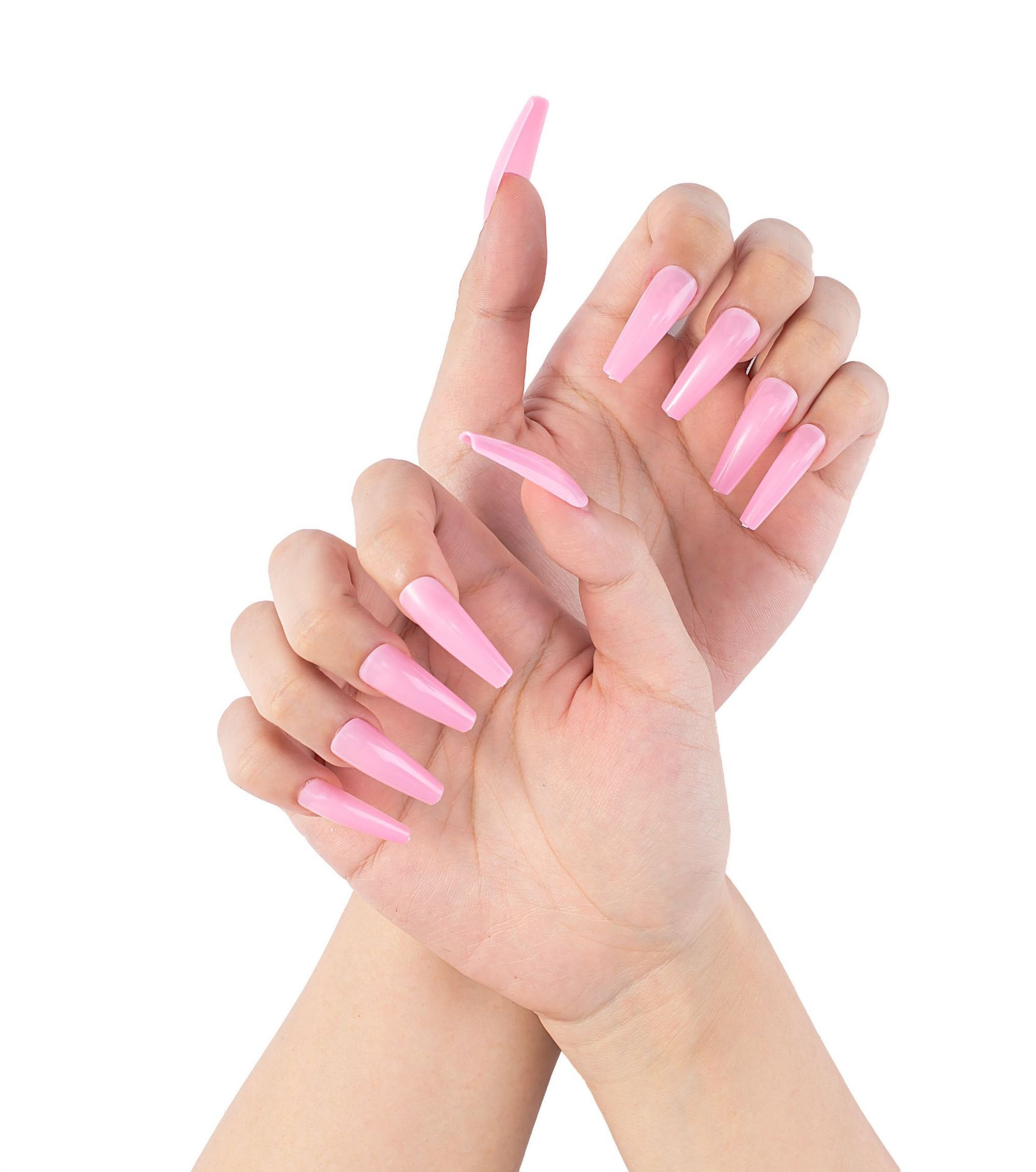 20pcs/Box Full Nail Attachment Nail Wearers Long Extension Nail Solid Color Ballet Coffin Nail Art For Women And Girls