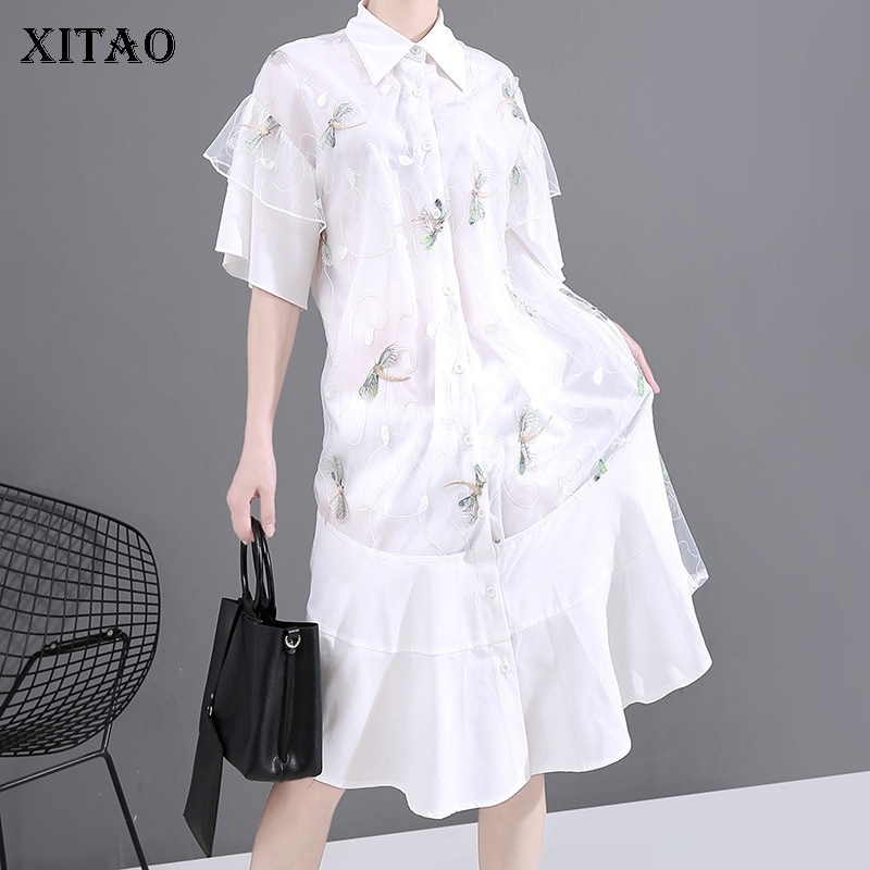 XITAO White Mesh Dress Fashion New Women Thin Goddess Fan Casual 2020 Summer Elegant Minority Single Breast Dress GCC3708