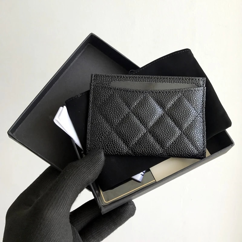 Fast Welivery Luxury Brand High Quality Leather Card Case Diamond Pattern Unisex Wallet Caviar Sheepskin Coin Purse Classic