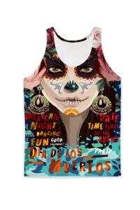 REAL American SIZE Día de los Muertos  Sublimation Print Tank top - plus size