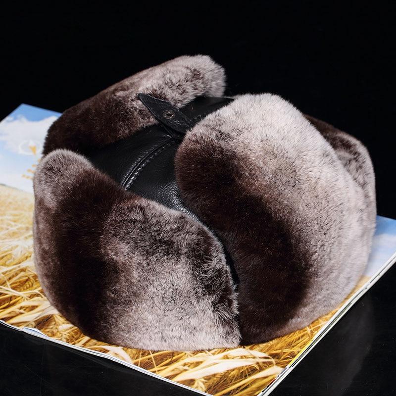 Lantafe Men Hat Winter Hat Bomber Hats Lei Feng Cap Russian Rex Rabbit Fur Sheep Leather With Earmuffs Keep Warm Real Fur