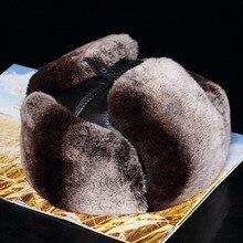 Lantafe-chapeau pour hommes   Chapeau dhiver, chapeau de bombardier, casquette Lei Feng Cap en fourrure de lapin russe Rex mouton en cuir, avec oreillettes garde au chaud, fourrure réelle