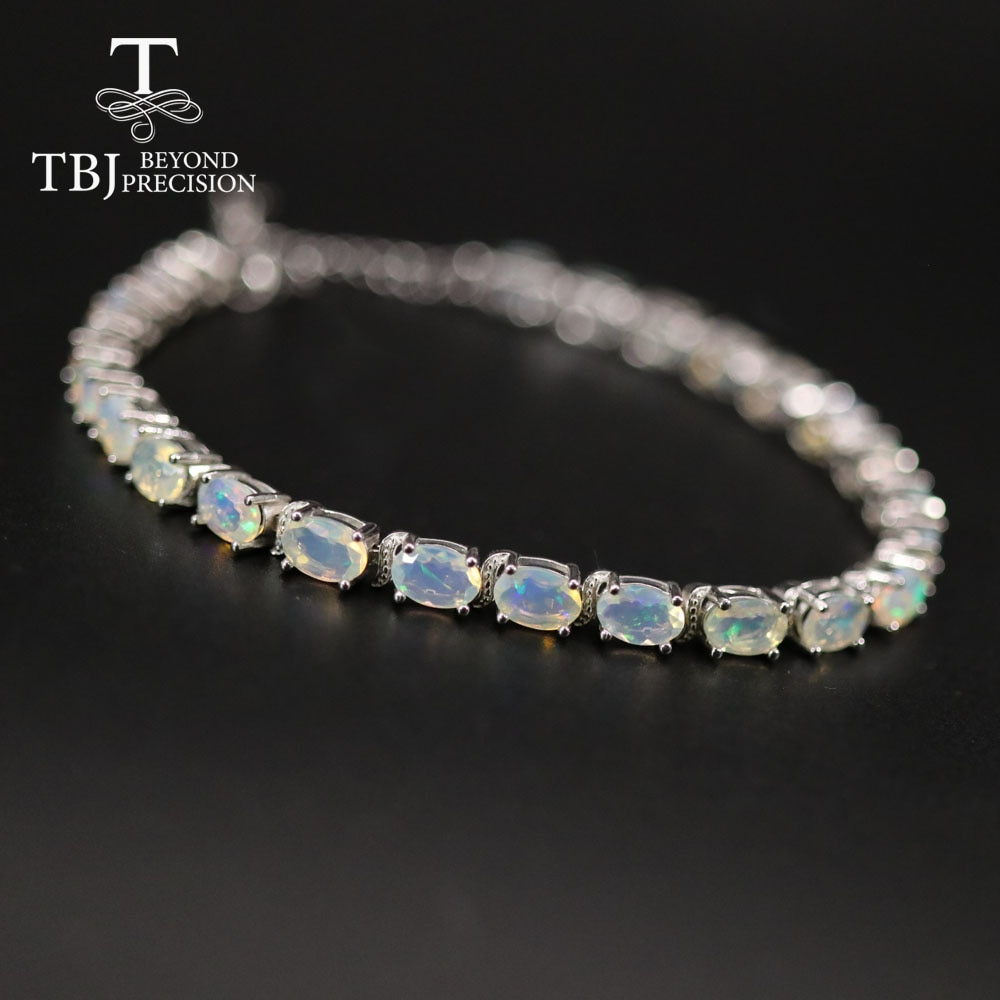 Simple Ethiopia Opal Bracelet oval cut 4*6mm fine natural colorful gemstone jewelry 925 sterling silver for women daily wear tbj