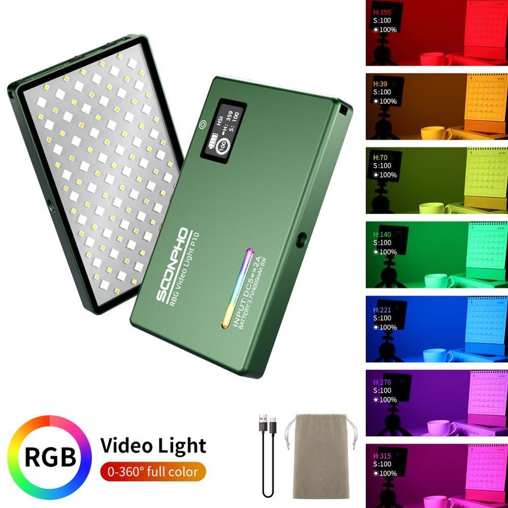 Soonpho-مصباح LED ملون لكاميرا الفيديو ، مجموعة إضاءة مع لوحة إضاءة 2500K-8500K ، CRI 95