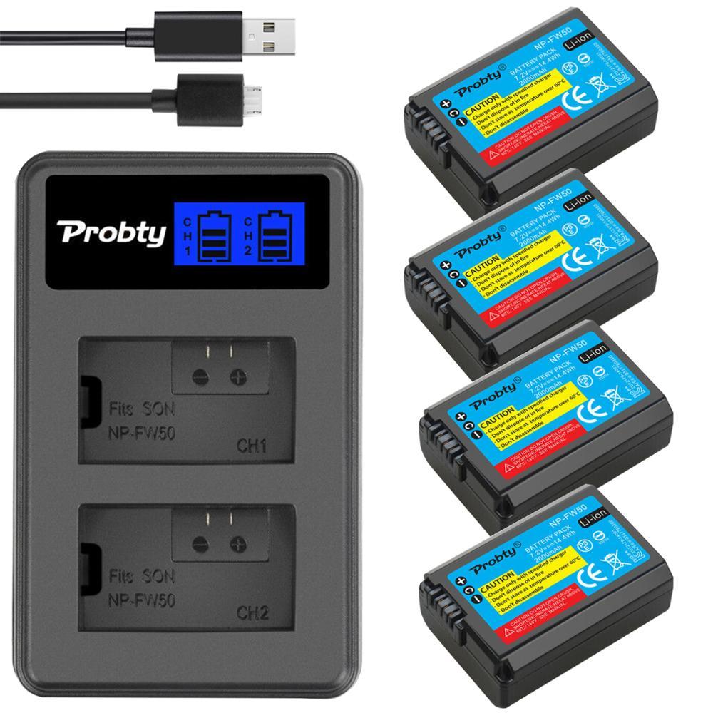 4pcs NP-FW50 FW50 Baterias + Dual USB Carregador de bateria Para Sony NP NEX-7 NEX-5N NEX-F3 NEX-3D NEX-3DW NEX-3K NEX-5C NEX-5DB Alpha 7R II