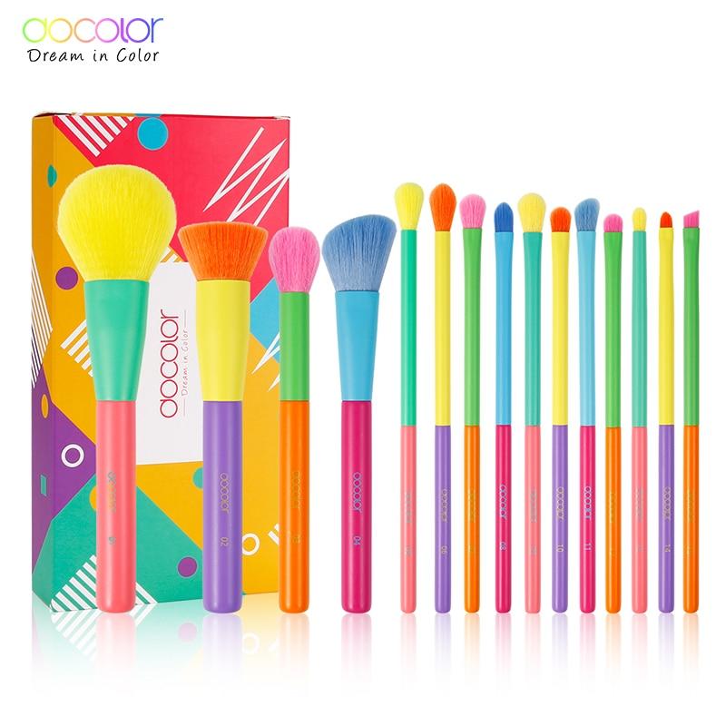 Docolor 15pcs Makeup Brushes Professional Powder Foundation Eyeshadow Make up Brush set Synthetic hair Colourful Makeup Brushes