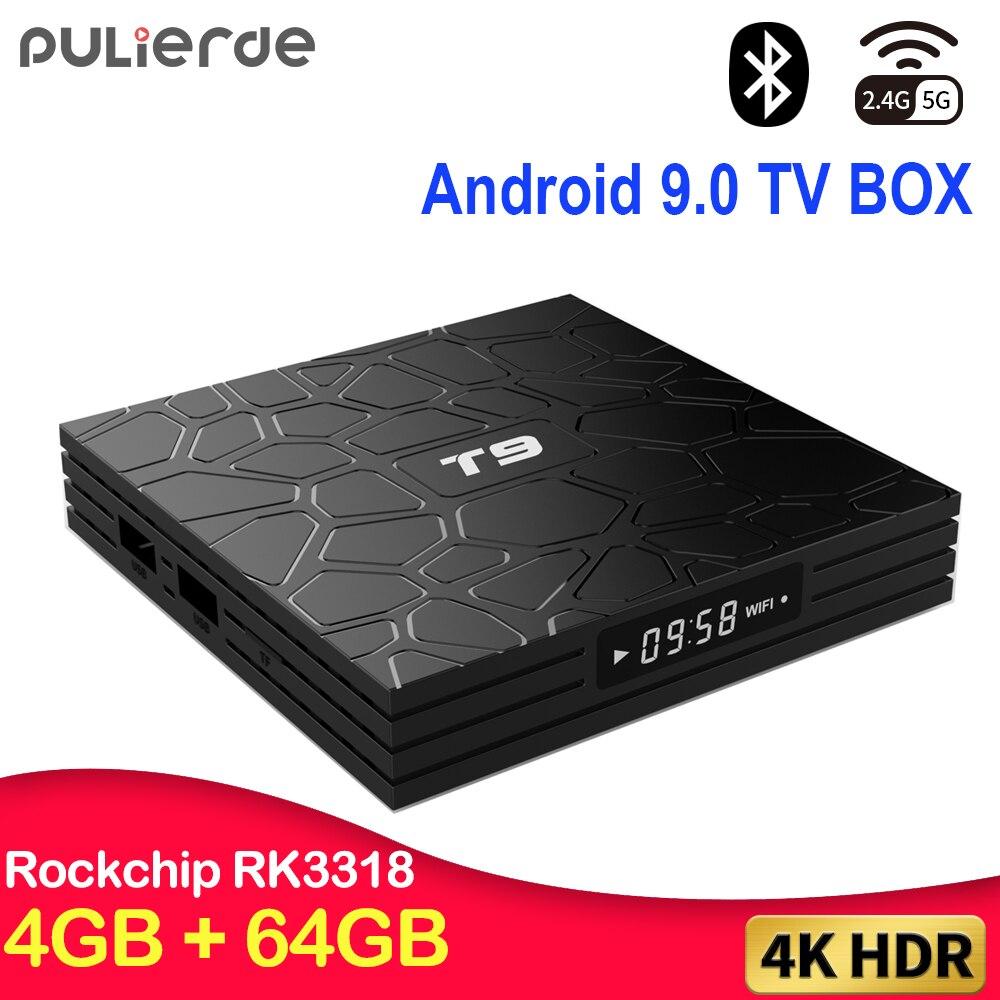 T9 4 gb 64 gb rk3318 quad core smart android 9.0 caixa de tv bluetooth4.0 h2.65 4 k 2.4 ghz/5 ghz wifi conjunto-parte superior da caixa media player