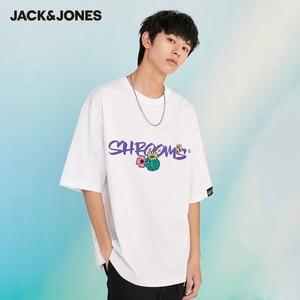 JackJones Men's 100% Cotton Unisex Lover's Round Neckline Short-sleeved T-shirt| 221201420