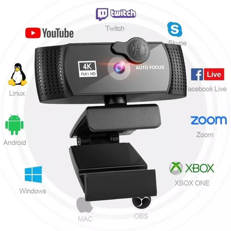 Webcam 4K 2K 1080P Para ordenador, cámara Web de PC con micrófono,...