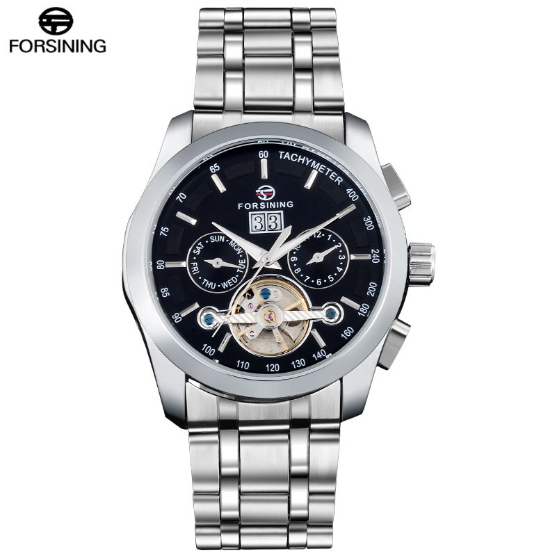 FORSINING 2017 Luxury Brand Watches Men Stainless Steel Mechanical Automatic Self Wind Tourbillion Wristwatches Date Week Month