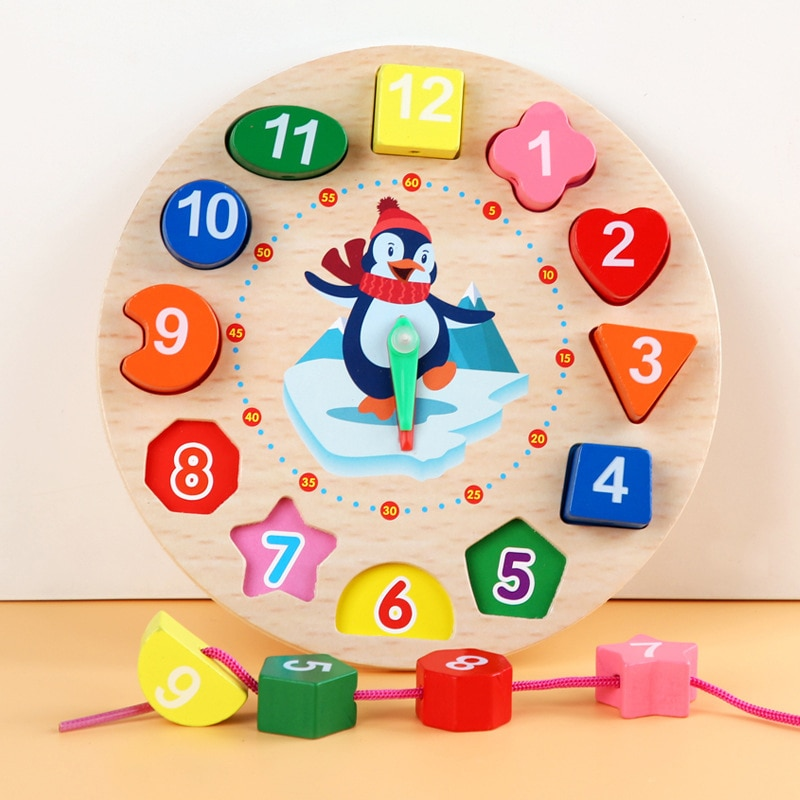 Wooden Puzzle Shape Color Sorting Educational Toys For Children Animal 3D Wooden Clock Puzzle Montessori Toys For Kids 2-4 Years