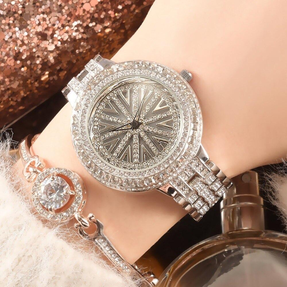 Nuevo disco giratorio de diamantes de imitación de lujo reloj de moda vestido de dama reloj de mujeres diamante reloj de mujer reloj femenino