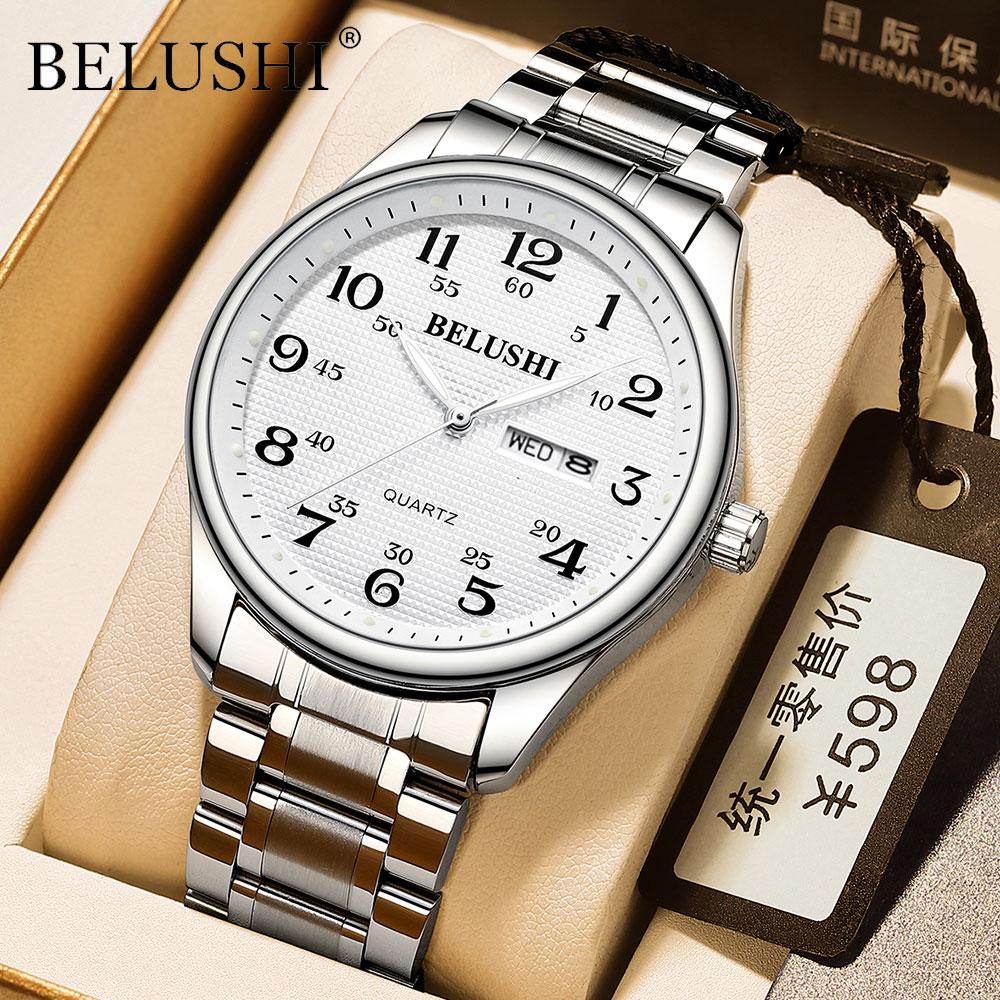 Belushi Men's Watches Top Brand Luxury 2021 Field Watch Easy Reader Date Expansion Band Quartz Water