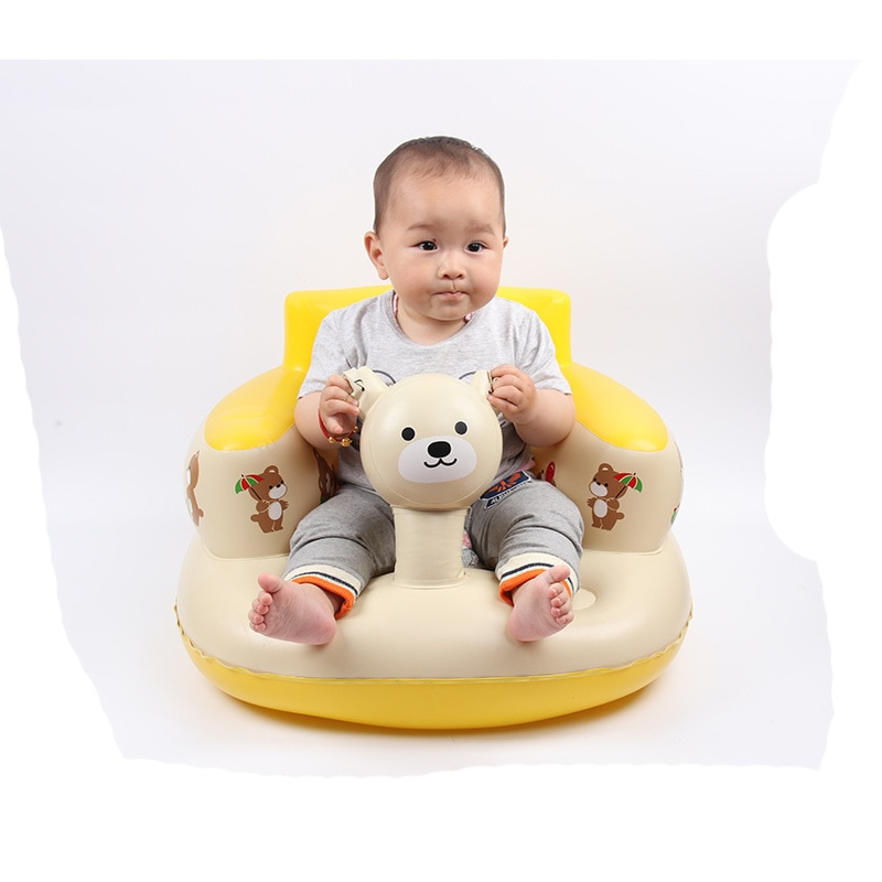 Golden small fish baby inflatable sofa music feeding children's dining chair handrails can play new songs