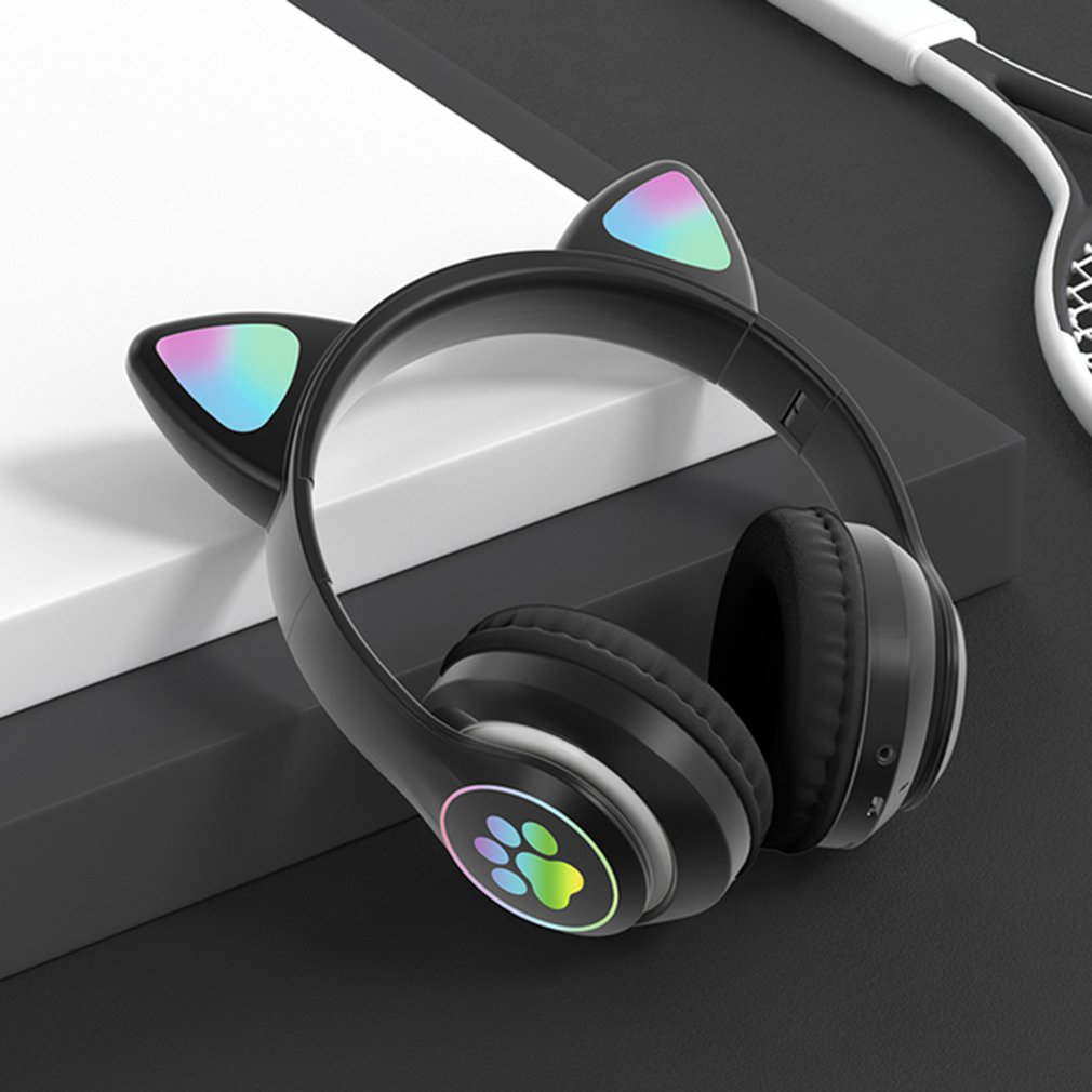 High Qulity RGB Cat Ear Headphones Bass Noise Cancelling Kids Girl Headset Support TF Card With Mic Gift Brace