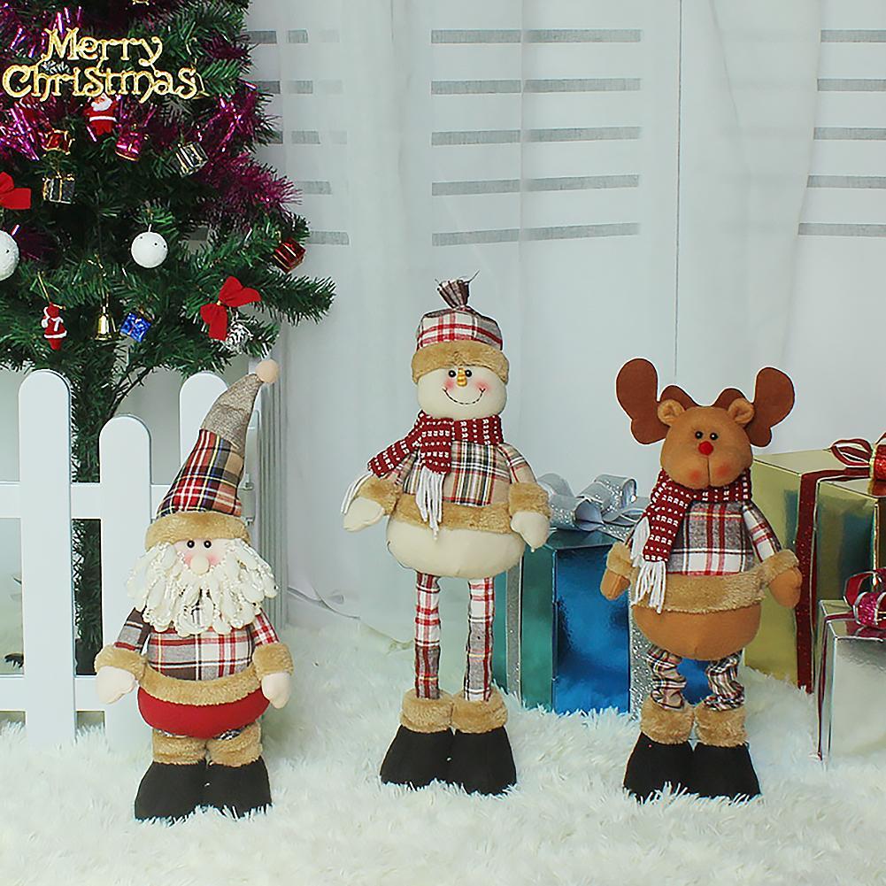 Muñeco de nieve navideño decorativo innovador muñeco de nieve pierna larga muñeca retráctil figurita ventana adornos navideños para el hogar