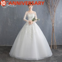 OllyMurs Elegant Long Sleeve Floral Print Wedding Dress Lacework Floor-Length Suitable for Garden Church Wedding Plus Size