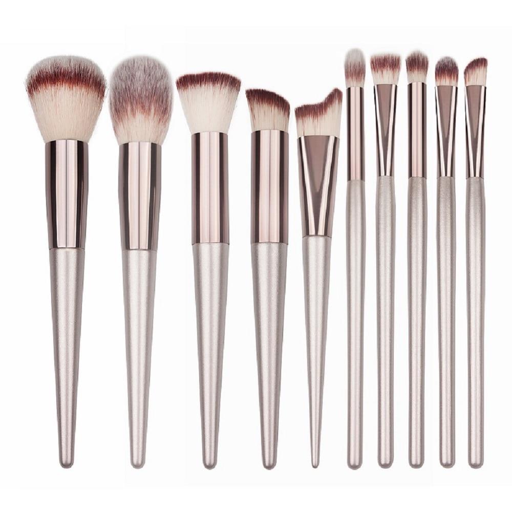 Brochas de maquillaje de lujo de 10 tamaños, brochas de maquillaje de madera, brochas cosméticas para sombra de ojos, brochas de maquillaje