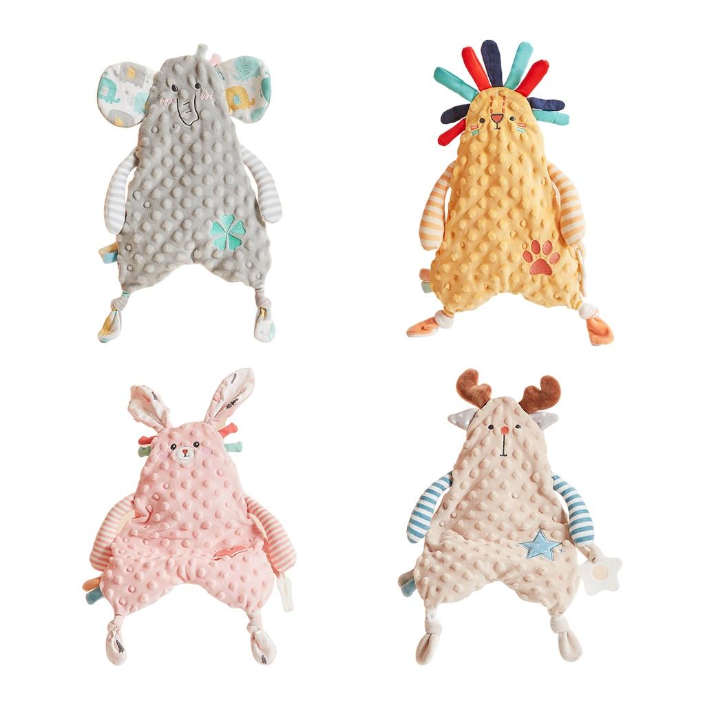 Baby Nursery Security Blanket Soft Fabric Animal Tag Blanket Stuffed Plush