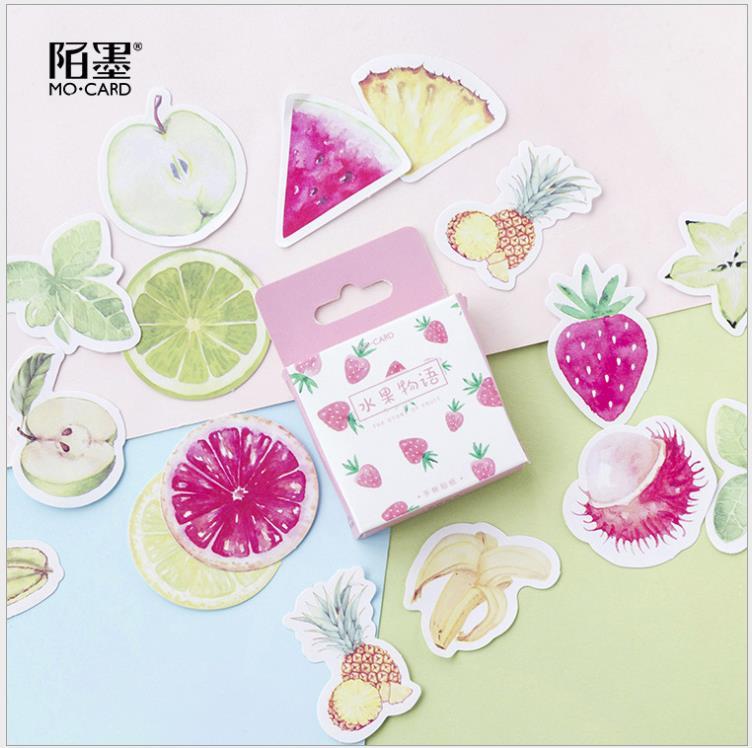 Pegatinas adhesivas de corte de frutas, decoración de papel de Color, papelería...
