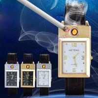 USB Rechargeable Lighter Watches Flameless Windproof Cigarette Lighter relogio masculino Clock Hodinky Men's Quartz Wrist Watch