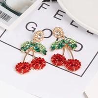 plant design woman trend earrings zircon colorful rhinestone drop dangle earrings for women 2021 school hanging ear ring za