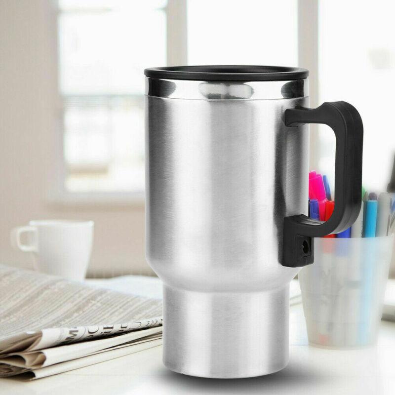 12 v 450ml caneca de aço inoxidável copo aquecimento elétrico carro viagem café chá maker