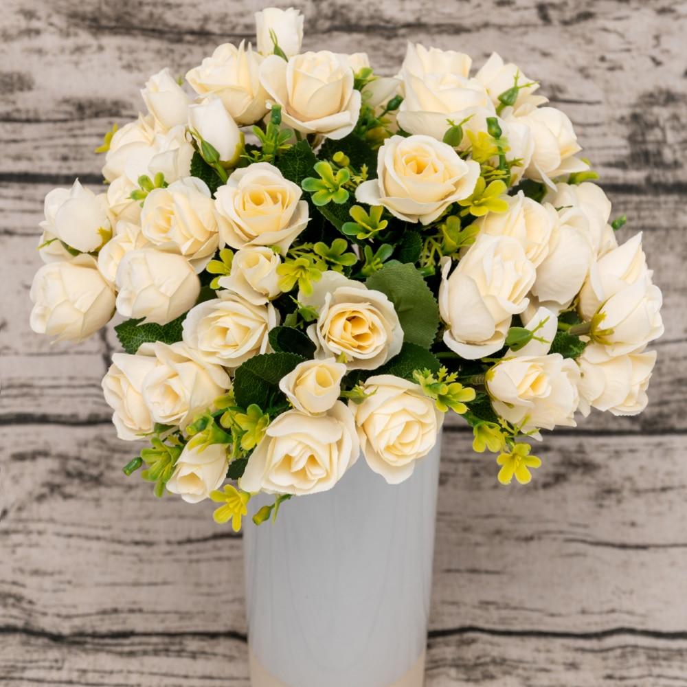 Ramo de flores artificiales de seda de 15 cabezas con rosas pequeñas, decoración de flores falsas para hotel, balcón, boda, arreglo de Mesa para el hogar